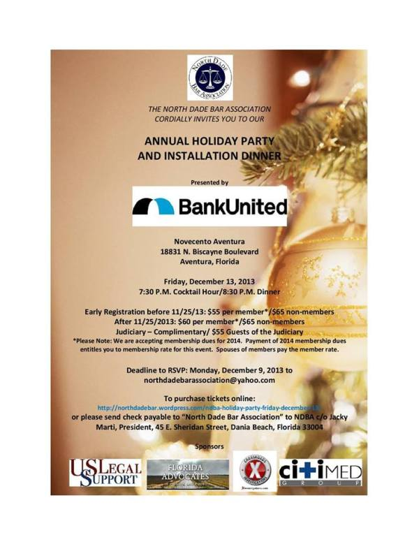 NDBA Holiday Party - Friday, Dec 13, 2013 @ Novecento Aventura